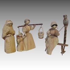 Three Vintage Corn Husk Dolls