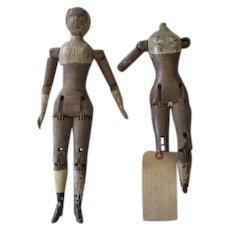 Primitive Antique Joel Ellis Dolls for Parts or Repair
