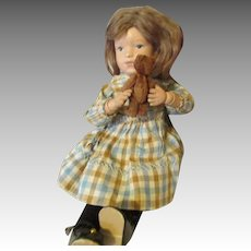 "Darling 15"" Schoenhut Doll with Teddy Bear"