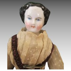 "Sweet 10"" China Head Doll in Antique Clothing"