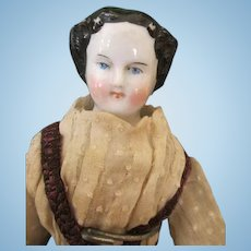 """Sweet 10"""" China Head Doll in Antique Clothing"""