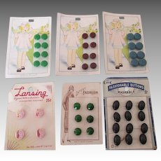 Assortment of Vintage Buttons on Original Cards for Doll Clothing Making