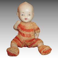 Tiny All Bisque Baby Doll in Crochet Outfit