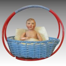 Sweet Celluloid Baby Doll in Vintage Basket