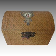 Antique French Fashion Doll Trunk Candy Container