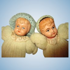 Vintage Celluloid Head Brother and Sister Dolls