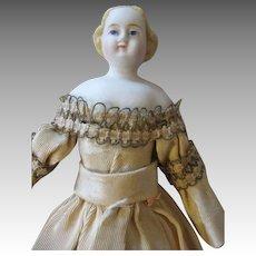 Pretty Blond Parian Bisque Head Doll in Stunning Dress