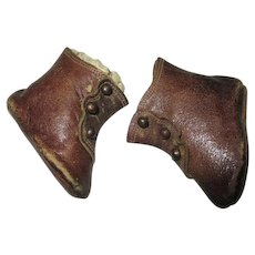 Antique Leather Doll Boots with Side Buttons