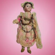 """Petite 8"""" Bisque Head Doll in Original Costume"""