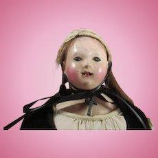 Unusual Paper Mache Head Doll with Bamboo Teeth
