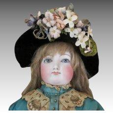 Stunning Black Velvet Doll Bonnet