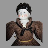 "Pretty  19"" China Head Doll in Lovely Dress"