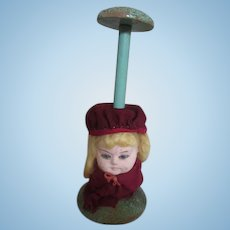 Vintage Doll Hat Stand with Paper Mache Doll Head