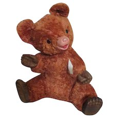 Unusual Vintage Ideal Teddy Bear with Rubber Nose, Paws and Feet