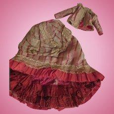 Antique Silk French Fashion Doll Dress