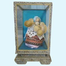 Tiny Miniature Basket Peddler Doll in Case