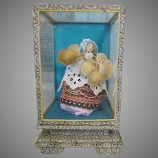 Tiny Miniature Basket Peddler Doll in Case