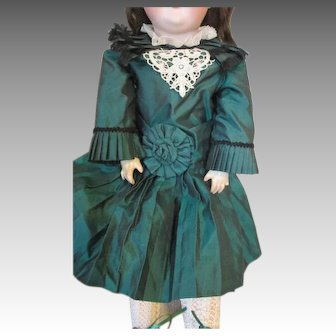 Green Silk Doll Dress - Very Detailed