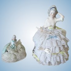 Two Antique German Half Doll Pin Cushions
