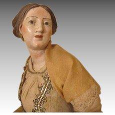 Neapolitan Creche Figure With Serene Face