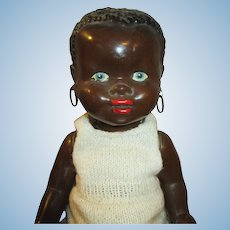 Adorable 1940's Black Hard Plastic Baby Doll with Pronounced Features
