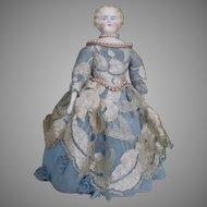 Pretty Blond Parian Bisque Head Doll in Stunning Dress