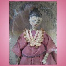 Early Grodnertal Wooden Doll in Case
