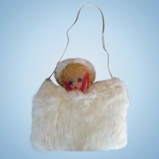 Vintage Doll Faced Fur Hand Muff