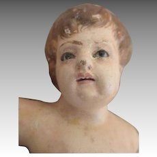 Antique Glass Eyed Terracotta Child
