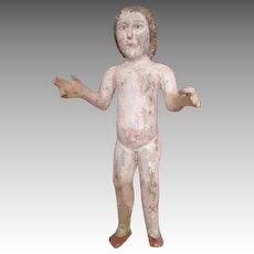 Unusual Antique Folk Art Carved Wooden Doll