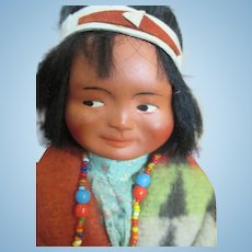 Bisque Head Indian Doll - All Original