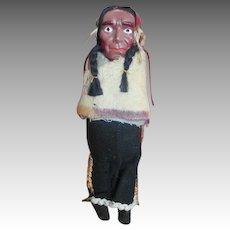 Unusual Celluloid Head Indian Doll