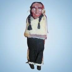 Unusual Celluloid Head Indian Doll