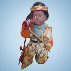 Adorable Bisque Head Indian Doll