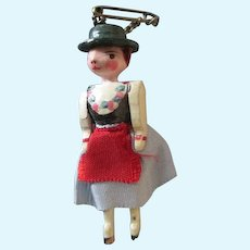 Vintage Wooden Doll Pin