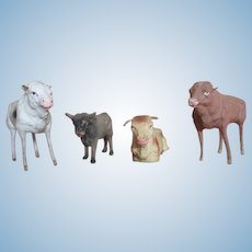 Group of 4 Putz Cows for Your Creche or Miniature Farm