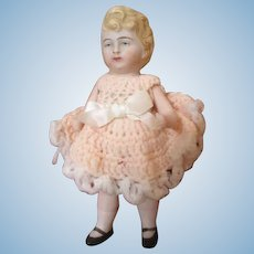 Antique German All Bisque Doll with Molded Hair