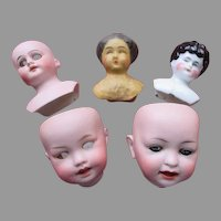 Doll Room Clean Out - Five Antique Doll Heads