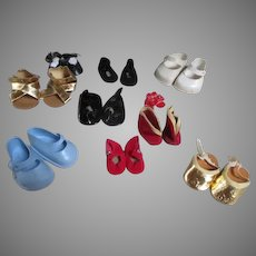 Assortment of 10 Pairs of Vintage Doll Shoes