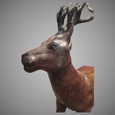 Vintage Leather Reindeer for Display