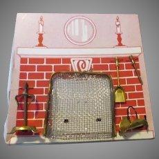 Brass Doll House Fire Place Set on Original Card