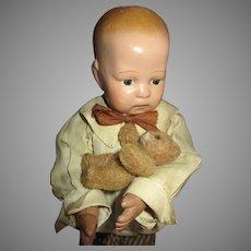 "Adorable 11"" Schoenhut Boy with Teddy"