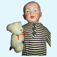 Sweet Bisque Head Character Boy with Teddy