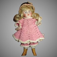 Adorable All Bisque Kestner Doll with Yellow Shoes