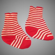Vintage Red Striped Baby Doll Socks