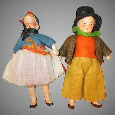 Tiny Bisque Doll House Dolls - Boy and Girl - Doll House Ready