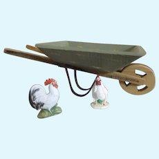 Doll Sized Wheelbarrow with Chickens