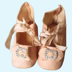 Vintage Oil Cloth Doll Shoes with Shoe Buckles and Heels