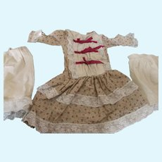 Vintage Doll Dress with Slip and Pantaloons