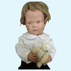 Sweet Schoenhut Doll with Teddy